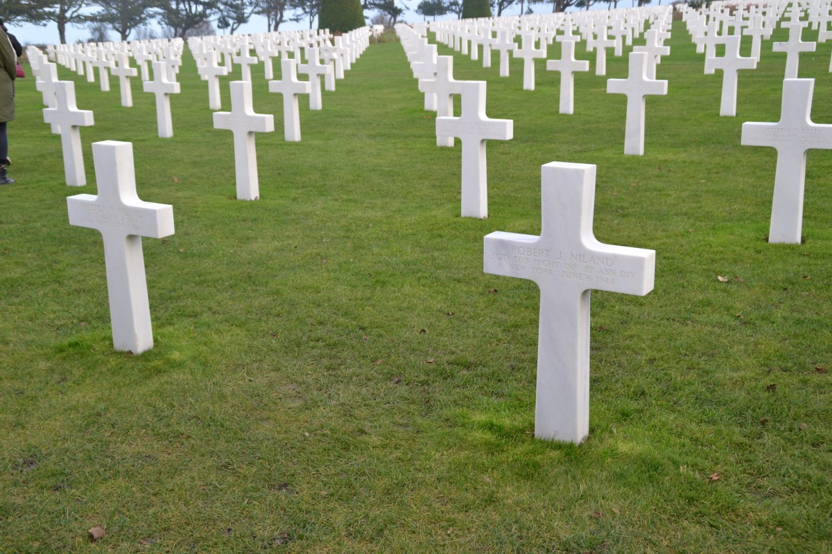 """The two graves in the foreground are the """" Saving Private Ryan"""" brothers. Two buried here. The other went home, and the 4th, thought to be missing, was a POW and returned home."""